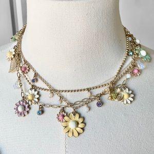 Vintage 1990's Multi-strand Daisy Charm Necklace